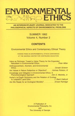 Primary view of object titled 'Environmental Ethics, Volume 4, Number 2, Summer 1982'.