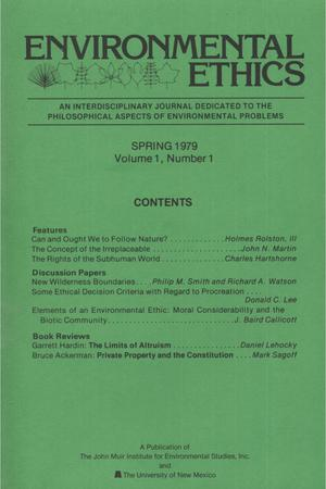 Primary view of object titled 'Environmental Ethics, Volume 1, Number 1, Spring 1979'.