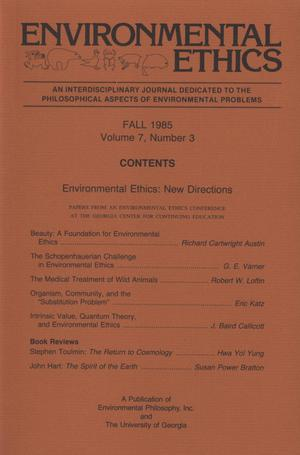 Primary view of object titled 'Environmental Ethics, Volume 7, Number 3, Fall 1985'.