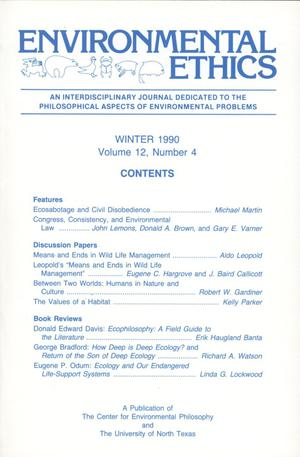 Primary view of object titled 'Environmental Ethics, Volume 12, Number 4, Winter 1990'.