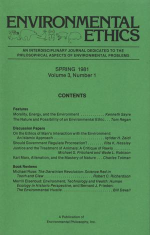 Environmental Ethics, Volume 3, Number 1, Spring 1981