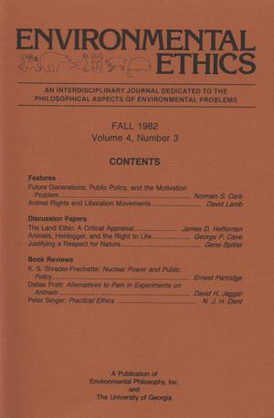 Primary view of object titled 'Environmental Ethics, Volume 4, Number 3, Fall 1982'.