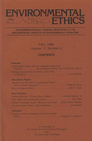 Primary view of object titled 'Environmental Ethics, Volume 11, Number 3, Fall 1989'.