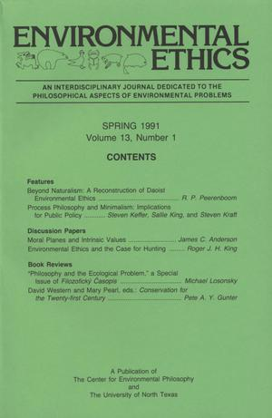 Primary view of object titled 'Environmental Ethics, Volume 13, Number 1, Spring 1991'.