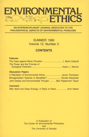 Primary view of object titled 'Environmental Ethics, Volume 12, Number 2, Summer 1990'.