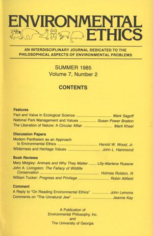 Primary view of object titled 'Environmental Ethics, Volume 7, Number 2, Summer 1985'.