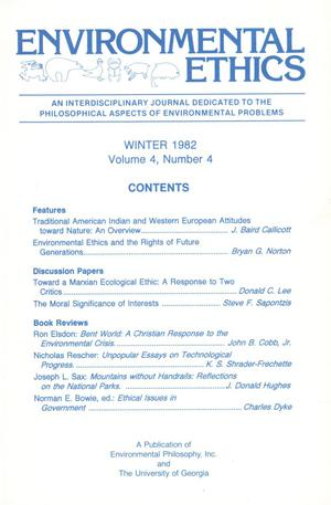 Primary view of object titled 'Environmental Ethics, Volume 4, Number 4, Winter 1982'.