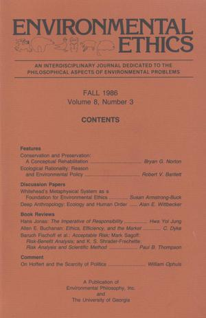 Primary view of object titled 'Environmental Ethics, Volume 8, Number 3, Fall 1986'.