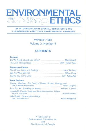 Primary view of object titled 'Environmental Ethics, Volume 3, Number 4, Winter 1981'.