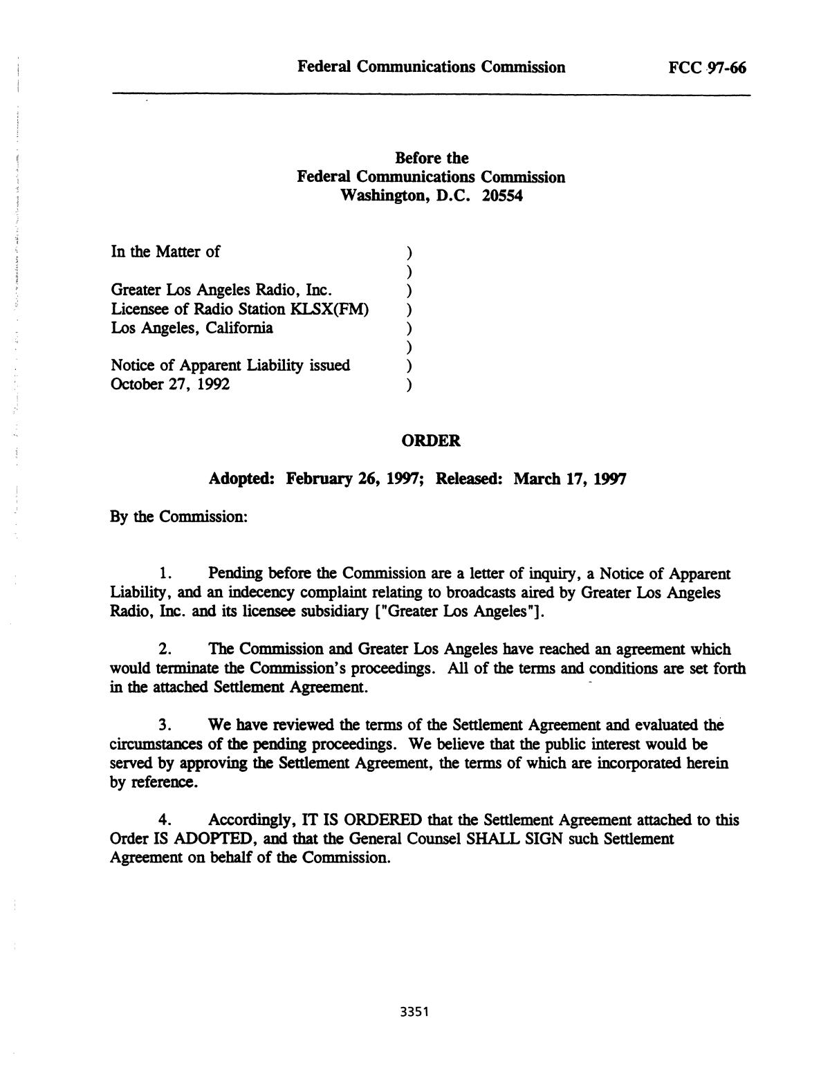 FCC Record, Volume 12, No. 6, Pages 2926 to 3507, March 10 - March 21, 1997                                                                                                      3351