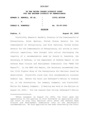 Primary view of object titled 'Federal District Court Decision in Pennsylvania Gov Rendell's case against Secretary of Defense'.
