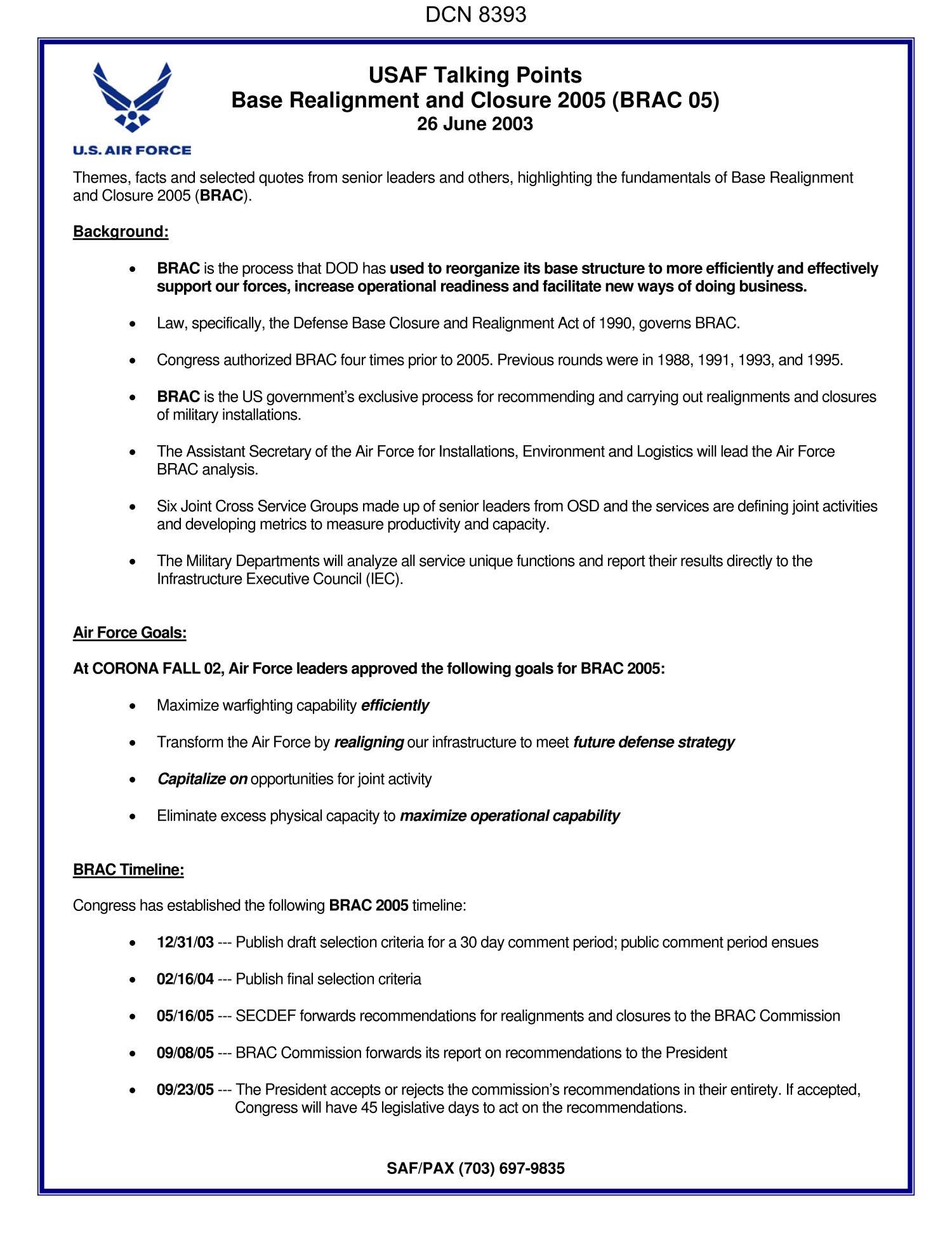 AF Form 1768 Staff Summary Sheet Dtd 06 26 03 Forwarding USAF Talking Points BRAC 2005