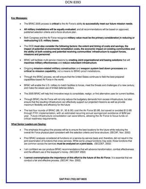 AF Form 1768 Staff Summary Sheet Dtd 06 26 03 Forwarding USAF