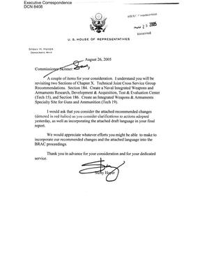 Primary view of object titled 'Executive Correspondence – Letter dtd 08/26/2005 to Commissioner Skinner from Representative Steny Hoyer'.