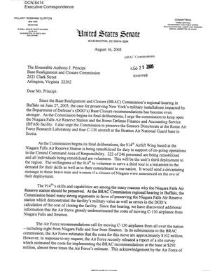 Primary view of object titled 'Executive Correspondence – Letter dtd 08/16/2005 to Chairman Principi from Hillary Clinton'.