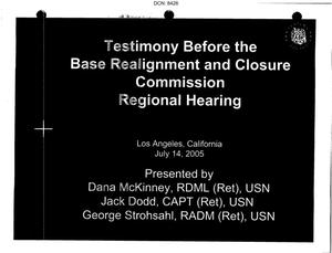 Primary view of object titled 'Ventura County, CA Regional Hearing Testimony, 14 July 2005'.