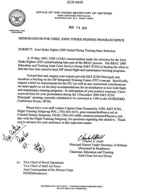 Primary view of object titled 'Memorandum dtd 11/09/04 for the Chief, Joint Strike Fighter Program Office from Charles Able, Principal Deputy Under Secretary of Defense (Personnel & Readiness)'.