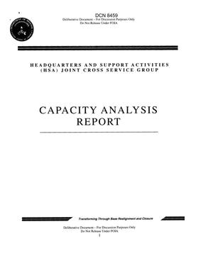 Primary view of object titled 'Headquarters and Support Activities (HSA) Joint Cross Service Group Capacity Analysis Report'.