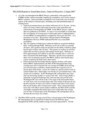 Primary view of object titled 'Department of Defense Clearinghouse Response: DoD Clearinghouse Response to a letter from the BRAC Commission regarding Leased Spaces.'.