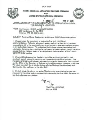 Primary view of object titled 'Department of Defense Clearinghouse Response: DoD Clearinghouse Response to a letter from the BRAC Commission regarding review of BRAC Recommendations.'.
