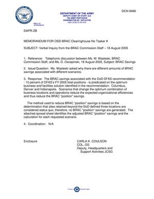 Primary view of object titled 'Department of Defense Clearinghouse Response: DoD Clearinghouse Response to a letter from the BRAC Commission regarding DFAS BRAC Savings.'.