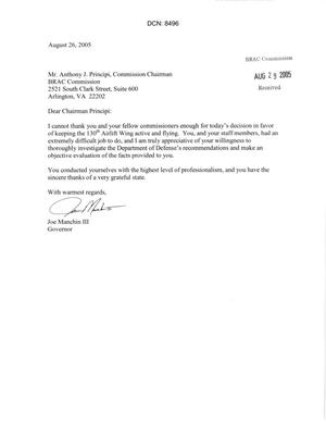 Primary view of object titled 'Letter  from West Virginia Governor Joe Manchin III to Chairman Principi. dtd 26 August 2005'.