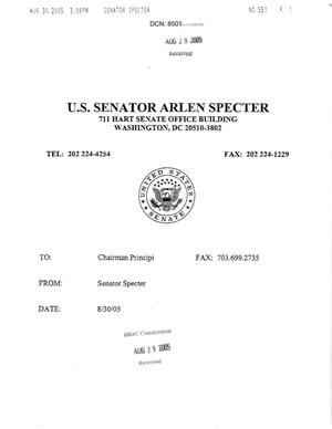 Primary view of object titled 'Letter from Pennsylvania Senator Arlen Specter to Chairman Principi. dtd 30 August 2005'.