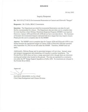 Primary view of object titled 'Department of Defense Clearinghouse Response: DoD Clearinghouse Response to a letter from the BRAC Commission regarding Environmental Restoration at Cannon and Ellsworth Ranges.'.
