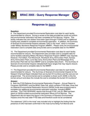 Primary view of object titled 'Department of Defense Clearinghouse Response: DoD Clearinghouse Response to a letter from the BRAC Commission regarding Army Installation(s) Environmental Restoration.'.