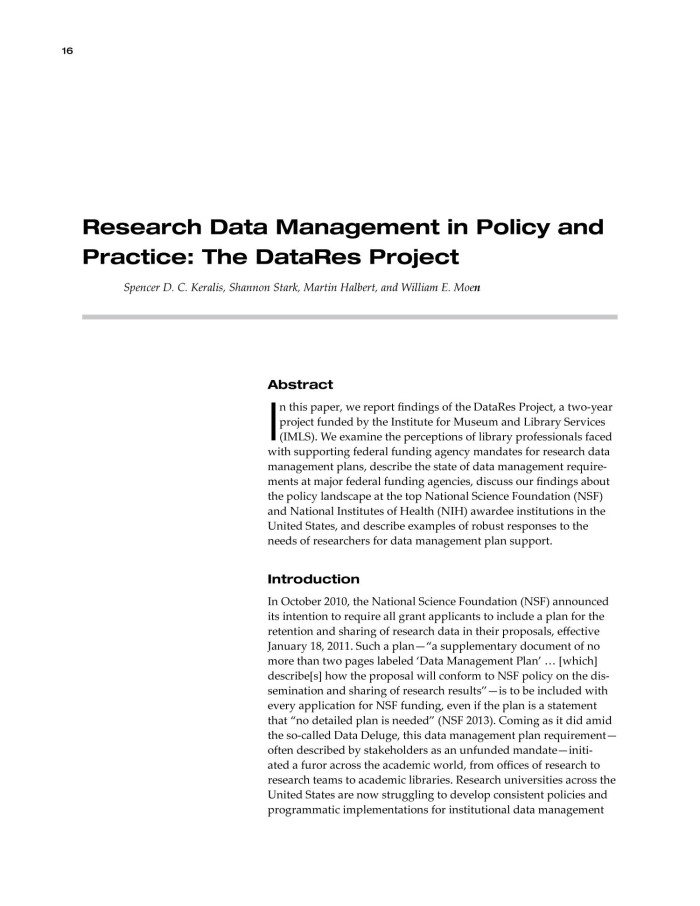 Research Data Management in Policy and Practice: The DataRes Project ...