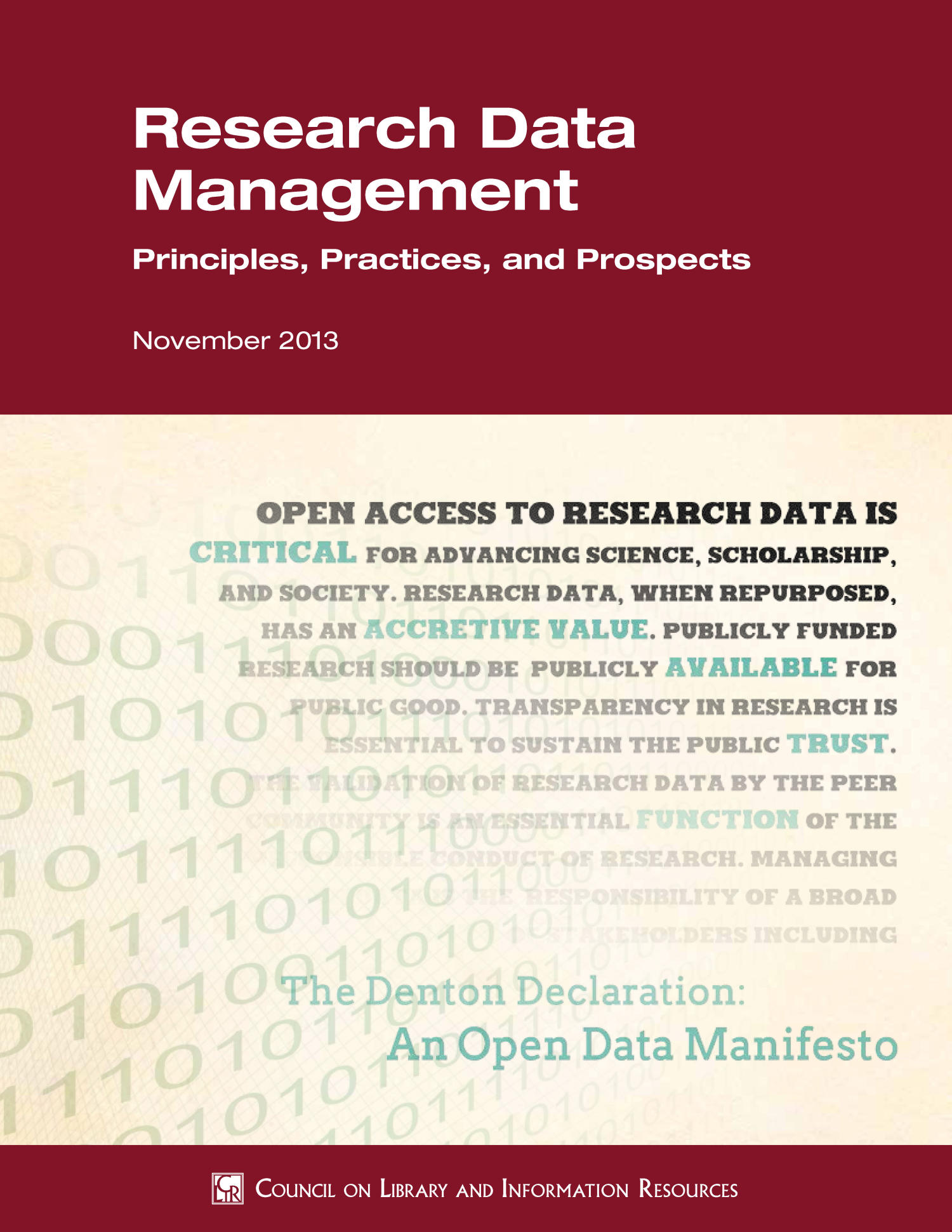 Research Data Management Principles, Practices, and Prospects                                                                                                      Title Page