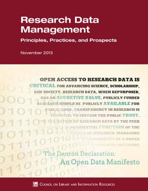 Primary view of object titled 'Research Data Management Principles, Practices, and Prospects'.