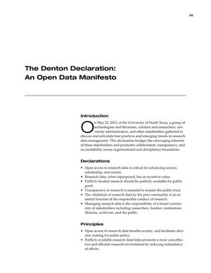 Primary view of object titled 'The Denton Declaration: An Open Data Manifesto'.