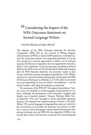 Primary view of object titled 'Considering the Impact of the WPA Outcomes Statement on Second Language Writers'.