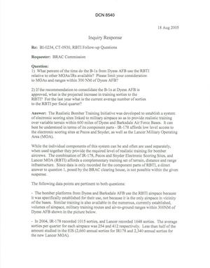 Primary view of object titled 'Department of Defense Clearinghouse Response: DoD Clearinghouse Response to a letter from the BRAC Commission regarding Dyess B-1 and RBTI.'.