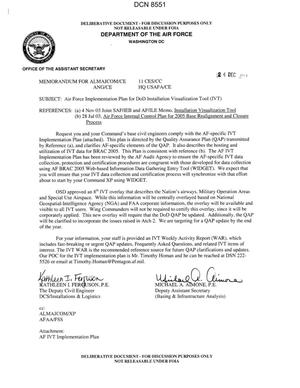 Primary view of object titled 'Memorandum dtd 12/24/03 FOR ALMAJCOM/CE 11 CES/CC ANG/CE HQ USAFA/CE from Kathleen Ferguson, The Deputy Civil Engineer DCS/Installations & Logistics, and Michael Aimone, Deputy Assistant Secretary (Basing & Infrastructure Analysis),'.