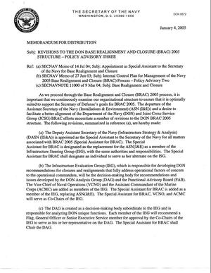 Primary view of object titled 'Revision to the Department of the Navy Realignment and Closure 2005 Structure - Policy Advisory Three'.