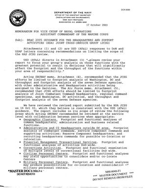 Primary view of object titled 'Department of the Navy Memo dated 17 Oct 2003 BRAC 2005 Guidance for the Headquarters and Support Activities JCSG'.