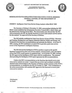 Primary view of object titled 'Memorandum For Infrastructure Executive Concil Members General Counsel of The Department of Defense -'.