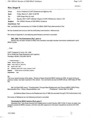 Primary view of object titled 'Email from Capt Craig Kuhm OPNAV Review of OSD BRAC Guidance'.