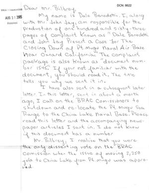 Primary view of object titled 'Letter from Dale Benedetti to Commissioner Bilbray'.