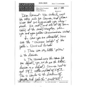 Primary view of object titled 'Letter from Steve G Gamble, President of Eastern New Mexico University to the BRAC Commission'.