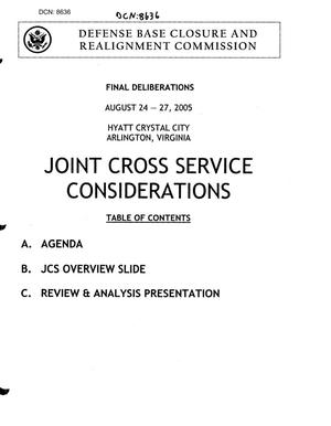 Primary view of object titled 'Joint Cross Services Book 2 Final Deliberations'.