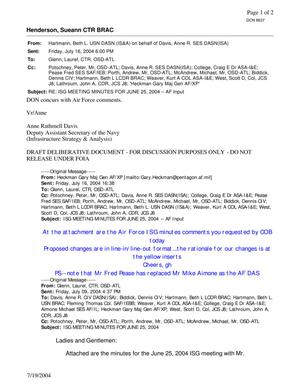 Primary view of object titled 'Email from Beth Hartmann Regarding ISG Meeting Minutes fro 25 June 2004 - AF Input'.