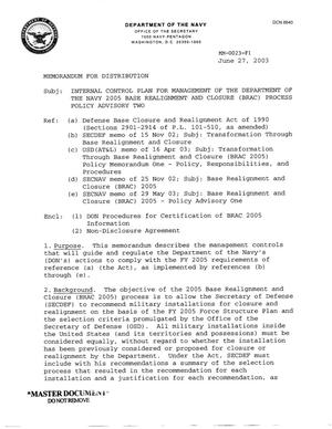Primary view of object titled 'Department of the Navy Memorandum - Internal Control Plan for Management of the Department of the Navy 2005 Base Realignment and Closure Process Policy Advisory Two'.