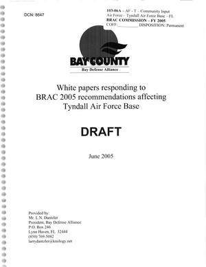 Primary view of object titled 'White papers responding to BRAC 2005 recommendations affecting Tyndall AFB.'.