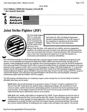 Primary view of object titled 'Joint Strike Fighter Data & System Details'.