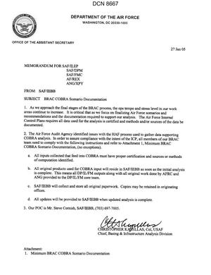 Primary view of object titled 'Memorandum dtd 01/27/05 from Col. Christopher Kapellas, Chief, Basing & Infrastructure Analysis Division (SAP /IEB) to SAF/ILEP, SAF/DPM, SAF/FMC, AF/REX, ANG/XPY'.