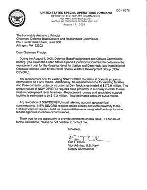 Primary view of object titled 'Department of Defense Clearinghouse Response: DoD Clearinghouse Response to a letter from the BRAC Commission regarding Naval Special Warfare Development Group.'.
