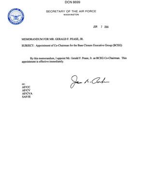 Primary view of object titled 'Memorandum dtd 06/07/04 from Secretary of the Air Force James Roche'.